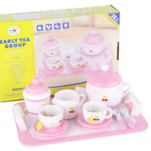 Kids Wooden Kitchen Cooking Play Tea Set Pretend Play Kids Childrens Toy