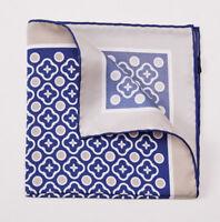 New CESARE ATTOLINI NAPOLI Navy Blue-Beige Floral Medallion Silk Pocket Square