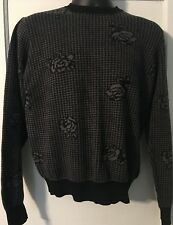 Obey Worldwide Women's Black and Grey Rose and Checkered Pattern Sweater Medium