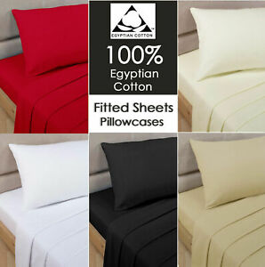 Hotel Quality 300 Thread Count Egyptian Cotton Fitted Bed Sheets / Flat Sheets
