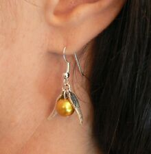 Harry Potter Golden Snitch Earrings Hogwarts Quidditch Fishhooks Christmas