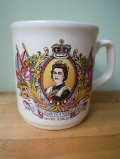 Queen Elizabeth II Regina 1977 Silver Jubilee Commemorative Mug C&E England