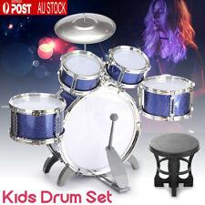Kids Junior 5 Drum Kit Set Children Mini Big Band Jazz Musical Play Toy & Stool