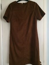Suedette Faux Suede Shift Dress 10 Tan Brown