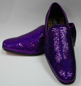 Mens Purple Iridescent Shiny Sequin Dress Loafers Shoes After Midnight 6865 S