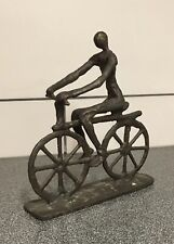 Vintage Brutalist Cast Iron Metalwork Cyclist Bicycle Sculpture 9� Tall 8� Long