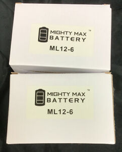 Lot Of Two Mighty Max Batteries 6V 12AH F2 SLA Battery for Power Patrol