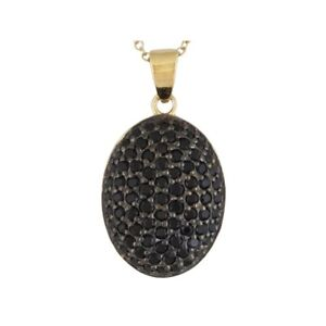 2.30 ct Round Black Spinel 18K Yellow Gold Over Sterling Silver Pendant w/Chain
