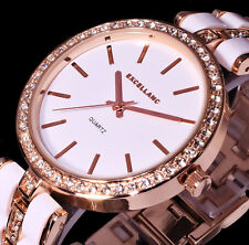 Excellanc Uhr Damenuhr Armbanduhr Weiß Rose Gold Farben Metall Strass - 2AW