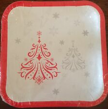 Christmas Party Supplies - Budget Christmas Paper Square Lunch Plate, 23cm, 10pk