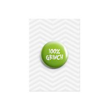 100% Grinch Button Pin Badge Christmas Secret Santa Grumpy Present Gift 38mm
