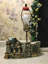1950's Vintage Train Clock Desk Lamp Miller Le Meinn China 22k Gold Handpainted