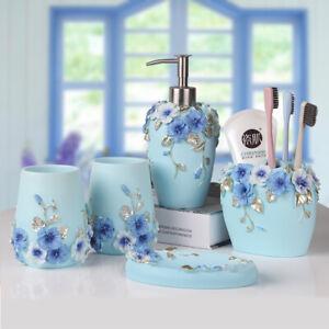 Blue Resin Bathroom Accessories Sets 5pcs Toothbrush Soap Dish Dispenser Holder