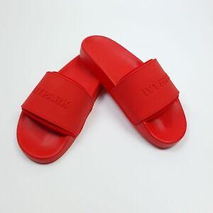 Beyonce Ivy Park Embossed Logo Fiery Red Sliders UK 4 5 6 7 8 9 Sandals BNWT