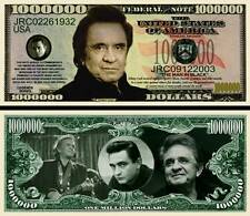 Johnny Cash Million Dollar Bill Collectible Fake Play Funny Money Novelty Note