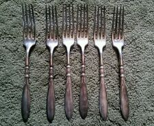 "1847 Rogers Bros 1910 Queen Ann / St Moritz 6 Silverplate Dinner Forks 7 5/8"""