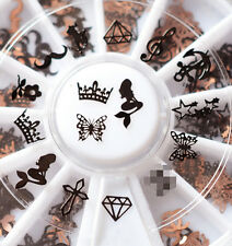 3D Metal Christmas Nail Art Decoration Slice Black Stickers Decal Foil Wheel