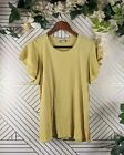 Anthropologie Dolan Yellow Embroidered Short Sleeve Size Large