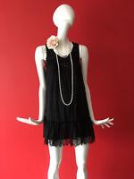 New Look Black Flapper 1920s Gatsby Charleston Lace Beaded Dress Size 8
