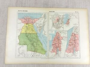 1888 Antique French Map of Ancient Egypt Israel Jerusalem Palestine Ethiopia
