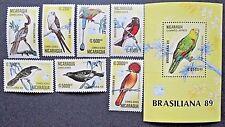 Nicaragua 1989 Braziliana 89 Bird Set & Mini Sheet. MNH.