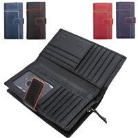 Ladies Womens Large Genuine Leather RFID Blocking Organiser Clutch Wallet Purse