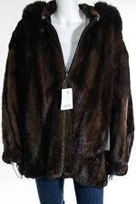 Birger Christensen Saks Fifth Ave Brown Mink Fur Leather Reversible Coat Size 42