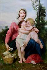 Bouguereau Madonna w/ Christ Child & Saint John the Baptist Oil Painting 24x36in