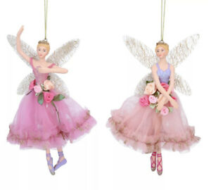 2 x Gisela Graham Pastel Sleeping Beauty Ballerina Fairy Hanging Decoration 16cm