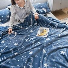 Soft Flannel Blankets Stars Printed Queen King Size Plaid Winter Throw Bedspread
