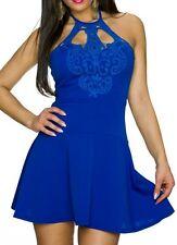 SeXy Miss Damen Neckholder Spitze Mini Kleid Party Dress 32/34/36 blau NEU Top