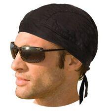 Set of 4 Black Food Service Skull Cap Head Wrap Do-Rag Chef Cook Medical Biker