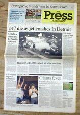 1987 newspaper Northwest Airlines flight @ Detroit DEADLIEST SOLE SURVIVOR CRASH