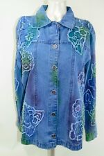 Chicos Women's Blue Denim Jacket Embroidered Embellished Button Size 2 Lg 12