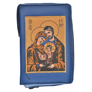 Embroidered Leather Bible Cover Case In Blue With Zip - Holy Family Image