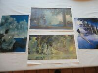 Maxfield Parrish Art Prints Reproduction Set of 4 Castles-Daybreak-Dinky-Garden