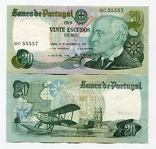 Portugal 20 Escudos Banknote Gago Coutinho P 176 1978 XF Money