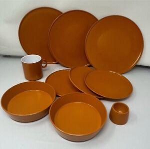 Vintage Retro Gaydon Burnt Orange Melmex Melamine Plates, Bowls Bundle