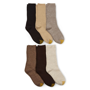 NWT Goldtoe Women's Casual Ribbed Crew Socks 6 Pack assorted Colors