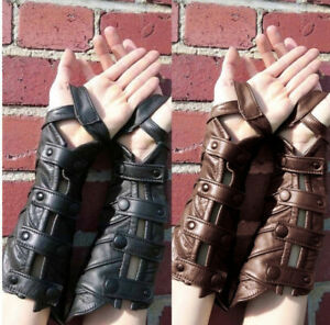 Medieval Leather Scaly Bracers Steampunk Capture Fingerless Fashion Gothic Glove