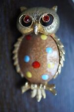 Dots Owl Rhinestone Eyes Brooch Vintage J.J Gold Tone Enamel Polka