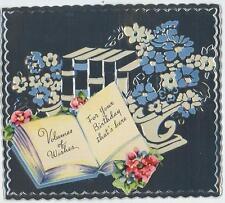 VINTAGE BOOKS BOOKEND FLOWERS ART EMBOSSED METAL ALUMINUM BIRTHDAY CARD PRINT