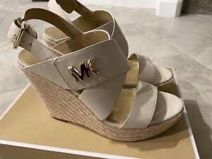 NIB Michael Kors Sidney Espadrille Wedge Buckle Up Sandal Leather Cream Size 11