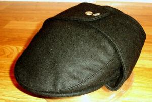 New Kangol wool hat Size M men earflap grey Bugatti flat ear flap cap charcoal