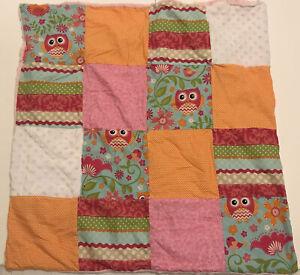 "NEW Handmade Quilt Patchwork Pink Chenille Baby Blanket 28x29"" Owl Floral Orange"