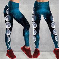 Women Fitness Yoga Pant 3D Galaxy Moon Printed Legging Gym Jogging Sport Trouser