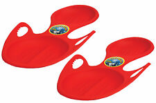 Red Plastic Rocket Snow Sled with built-in handles for One Rider Pack of 2