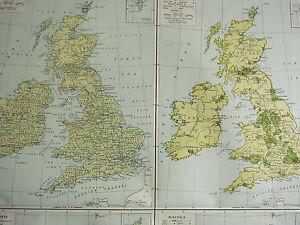 1919 LARGE MAP ~ BRITISH ISLES ECONOMICS ~ AGRICULTURE MANUFACTURES WATERWAYS