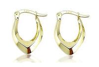 10K Yellow Gold Hoop Earrings Plain Oblong Polished Hoops 17.5mm Drop