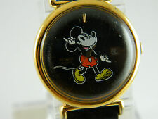 PULSAR  MICKEY MOUSE GENTLEMAN  WATCH BLACK FACE /GOLD TONE CASE #V827